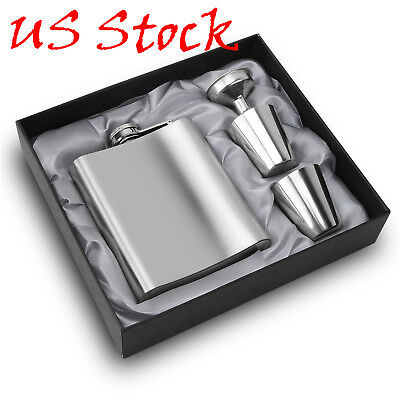 7oz Hip Flask With Funnel Portable Stainless Steel Hip Flasks Set Flagon Whiskey
