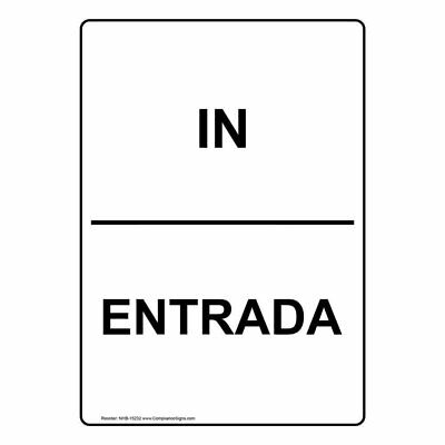 ComplianceSigns Vertical Aluminum In - Entrada Sign, 10 X 7 in. with English...