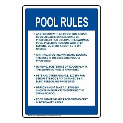 ComplianceSigns Aluminum Rhode Island Swimming Pool / Spa Sign, 28 x 20 with...