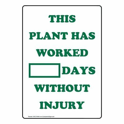 ComplianceSigns Dry Erase Days Without Injury Sign, 20 x 14 Aluminum with...