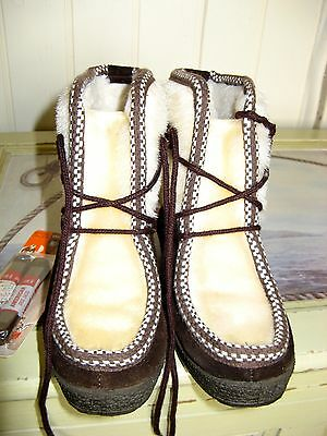 1970's Vintage Leather Childs Faux Fur Children's Boots Made In Italy SIZE 10