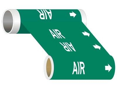 ComplianceSigns Wide Tape Roll ASME A13.1 Air Pipe Marker, 8 IN x 30 FT Green