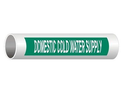 ComplianceSigns Vinyl ASME A13.1 Water Pipe Label, 8 x 2 Inch Green 50-pack