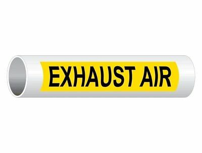ComplianceSigns Vinyl ASME A13.1 HVAC Pipe Label, 12 x 2.5 Inch Yellow 50-pack