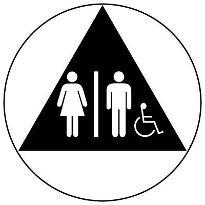 ComplianceSigns Acrylic Unisex Accessible Restroom Sign, 12 x 12 in. with...