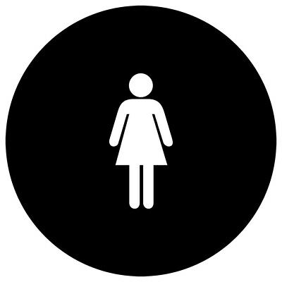 ComplianceSigns Acrylic Womens / Girls Restroom sign, 12 inch round Tactile...