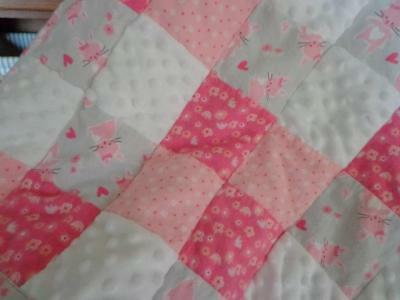 Minky Flannel Patchwork Quilt Blanket Baby Girl Bunnies, Flowers, Dots Free Ship