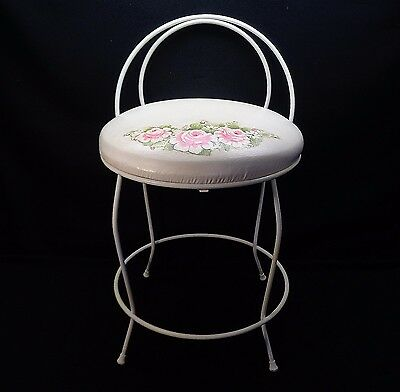Art Deco White Hollywood Regency Vanity Padded Seat Small Chair With Roses