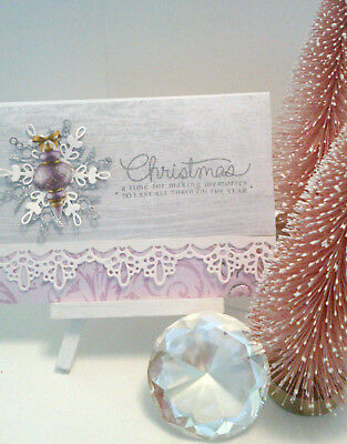 Handmade Christmas Card: Snowflakes & Lace (Purple)