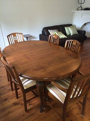 Antique dining suite with 6 matching chairs