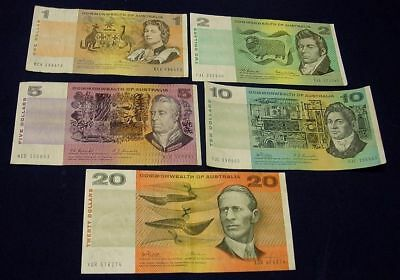 AUSTRALIAN COMM. $1 to $20 NOTES set inc 1967  Coombs/Randall banknote F/aVF