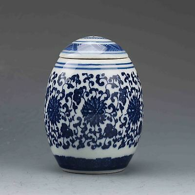 Chinese Blue And White Porcelain Hand Painted Fu Pot w QianLong Mark G563