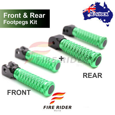For Sport 1000 /S/BP All Year Front + Rear Pair Green CNC Pole Footpegs