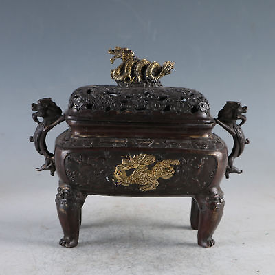 Chinese Ancient Gilt Copper Golden Dragon Incense Burner Made During The Da Ming