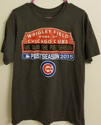 Wrigley Field Home of Chicago Cubs Post Season 2015 Shirt Mens size L Large