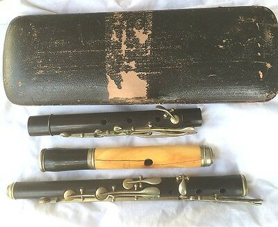 ANTIQUE NACH MEYER HANOVER FLUTE with beat-up case
