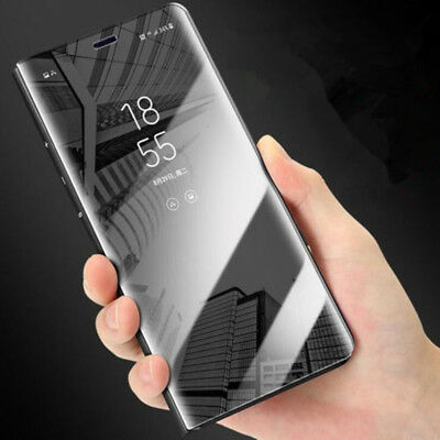 For Huawei Mate10 Lite P10 Clear View Mirror Leather Slim Flip Stand Case Cover