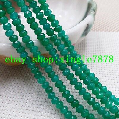 """Natural 2x4mm Green Emerald Faceted Rondelle Gemstone Loose Beads 15"""" AAA 999"""