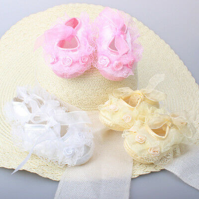 Infant Toddler Baby Girl Soft Lace Sole Pram Shoes Trainers Newborn 0-18 Months