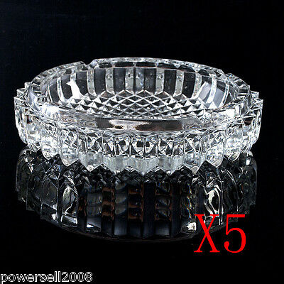 5X Small Classic Transparent shiny Crystal Glass Household Hotel Use Ashtray NN