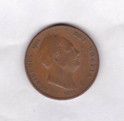 1831 William Iiii Copper Penny In A Well Used Condition
