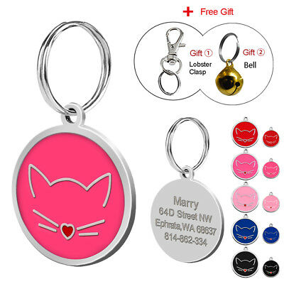 Stainless Steel Personalized Dog Tags ID Name Engraved Tag for Kitten Free Bell