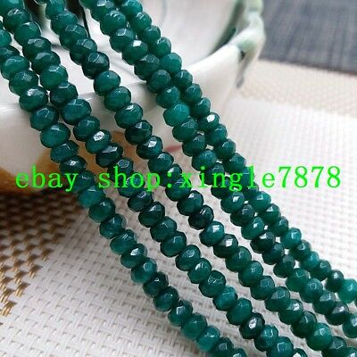 """Natural 2x4mm Dark Green Emerald Faceted Rondelle Gemstone Loose Beads 15""""AA 999"""