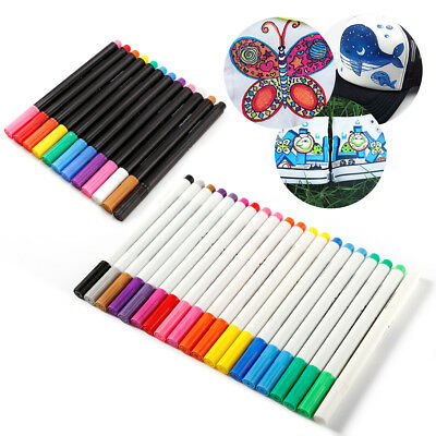 24 Multi Colors Permanent Fabric Textile Clothes T-Shirt Cloth Shoes Marker Pens