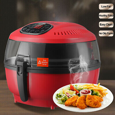Electric Digital Air Fryer Oil-Less Griller Roaster Calorie Reducer 7L Red