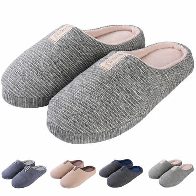 Men's Womens Anti-Slip Memory Foam Slip-on Winter Slippers Flat Indoor Shoes