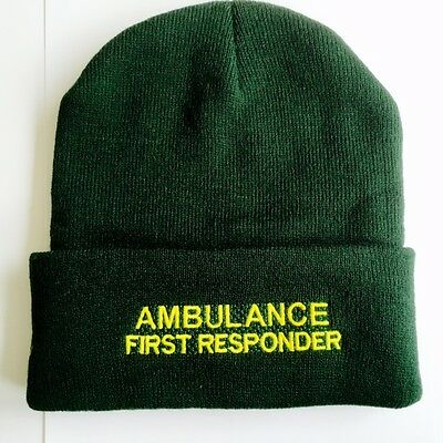 Ambulance First Responder Green Woolly Hat - Paramedic Medic Ambulance