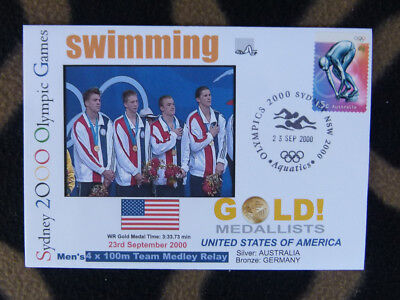 SYDNEY OLYMPICS GOLD MEDAL FIRST DAY COVER - 4 x 100m USA MENS SWIMMING RELAY