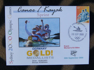 SYDNEY OLYMPICS GOLD MEDAL FIRST DAY COVER - WOMENS K4 500m GERMANY
