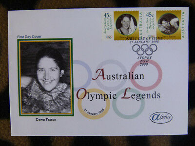 Scarce Alpha First Day Cover - 1998 Olympic Legends Dawn Fraser Stamp Pair
