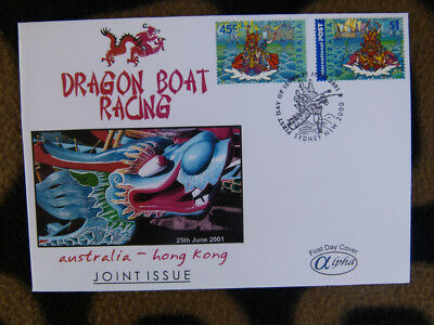 Scarce Alpha First Day Cover - 2001 Aus-H.k Dragon Boat Racing Stamp Pair