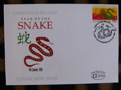 SCARCE ALPHA FIRST DAY COVER - 2001 CHRISTMAS IS YEAR OF THE SNAKE 45c STAMP