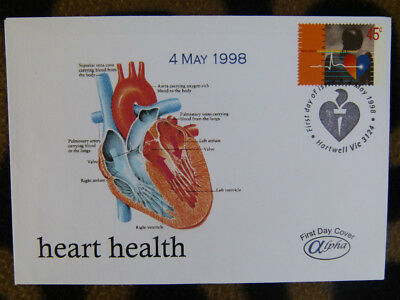 SCARCE ALPHA FIRST DAY COVER - 1998 AUSTRALIAN HEART HEALTH 45c STAMP
