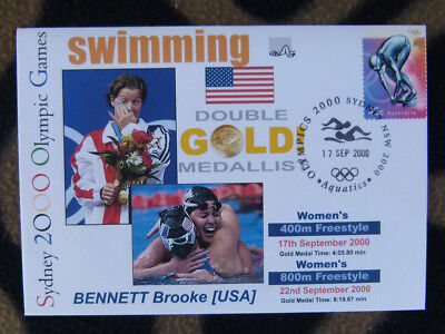SYDNEY OLYMPICS GOLD MEDAL FIRST DAY COVER - BROOKE BENNETT 400 & 800m FREESTYLE
