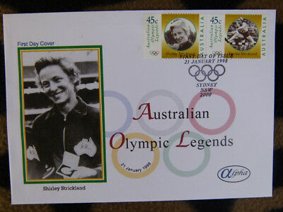 Scarce Alpha First Day Cover - 1998 Olympic Legends Shirley Strickland Stamps
