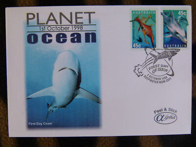 Scarce Alpha First Day Cover - 1998 Planet Ocean Peel & Stick Stamp Pair