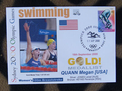 SYDNEY OLYMPICS GOLD MEDAL FIRST DAY COVER - MEGAN QUANN 100m BREASTROKE