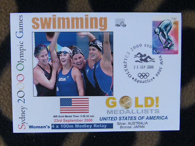 SYDNEY OLYMPICS GOLD MEDAL FIRST DAY COVER - 4 x 100m USA WOMENS SWIMMING MEDLEY