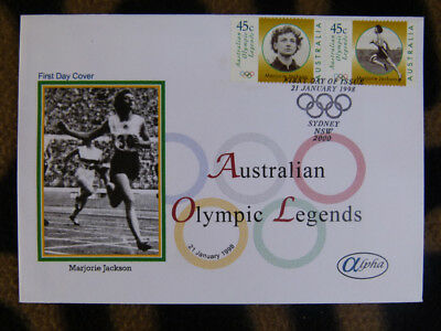 Scarce Alpha First Day Cover - 1998 Olympic Legends Marjorie Jackson Stamp Pr