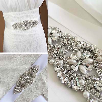 Bridal Wedding Dress Belt Sash Pearl And Crystal Sparkle White Satin Ribbon Tie