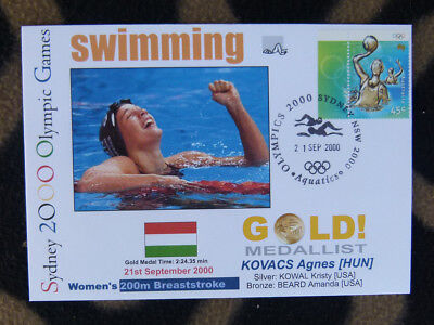 SYDNEY OLYMPICS GOLD MEDAL FIRST DAY COVER - AGNES KOVACS 200m BREASTROKE