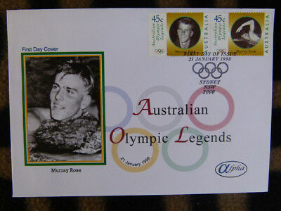 Scarce Alpha First Day Cover - 1998 Olympic Legends Murray Rose Stamp Pair