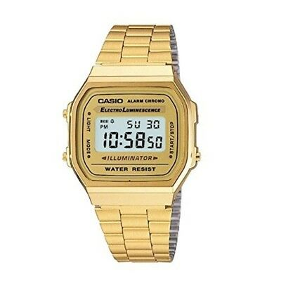 Casio A168WG-9 Men's Vintage Gold Metal Band Top Quality Unisex Alarm Watch