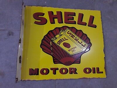 SHELL MOTOR OIL Porcelain Sign SIZE 20.5 X 18 INCHES 2 SIDED FLANGE