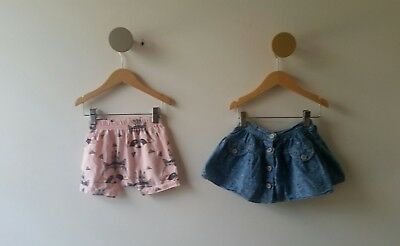 paper wings girls skirt and designer shorts, size 1-2 (12 months)