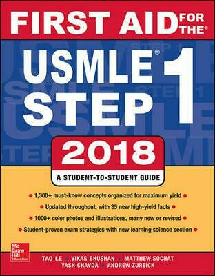 First Aid for the USMLE Step 1 2018 by Tao Le Paperback Book Free Shipping!